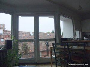Recording setup at the balcony rainy day