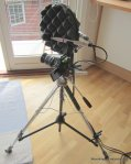 Tripod with camera and microphones