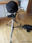 Camera tripod with audio recording head