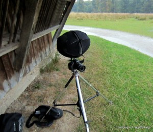 DSLR camera with microphones attached