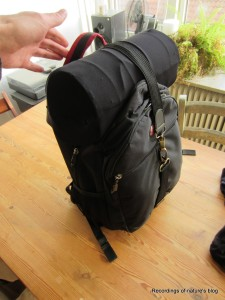 Bag contaning recording gear and microphone blimp (4 layers of nylon stocking)
