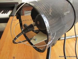 Inside microphone blimp. Earthworks QTC30 with pressure equaliser.