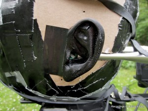 Close-up of binaural ear without wind shield