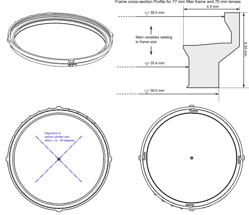 Design of frame for varialbe CYL filter, antialiasing filter for DSLR digital video